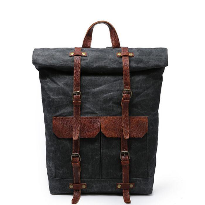 Canvas Rucksack Herren Reiserucksack Rolltop Laptop Backpack