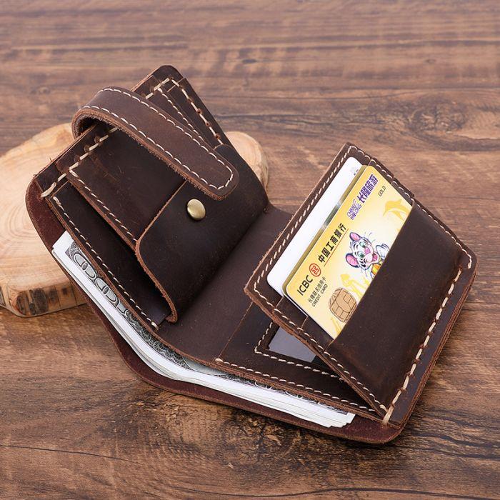 kompakte Geldbörse Herren Geldbeutel aus Leder Vintage